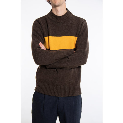 Universal Works Universal Works Sweater / Chest Stripe / Brown