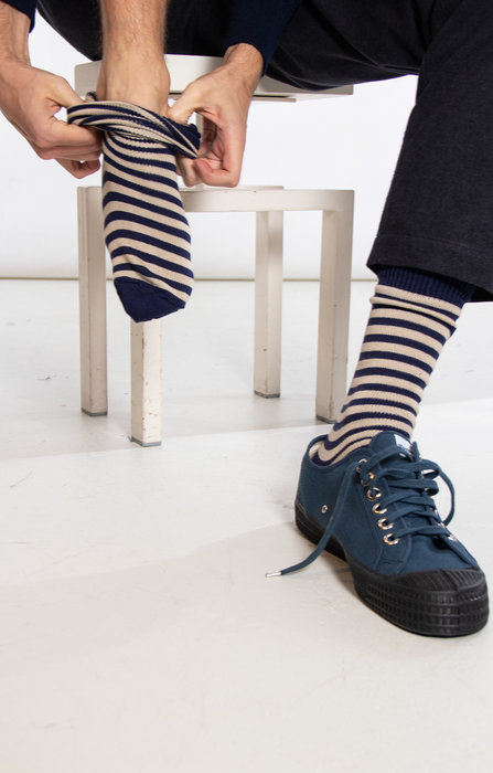 Universal Works Universal Works Sock / Stripe Sock / Navy