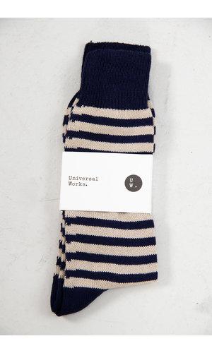 Universal Works Universal Works Sok / Stripe Sock / Navy