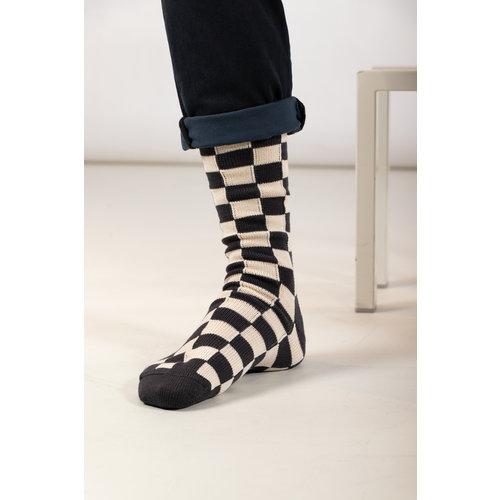 RoToTo RoToTo Sock / Checkerboard / Grey Ivory