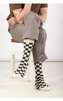 RoToTo Sock / Checkerboard / Dark Green Ivory