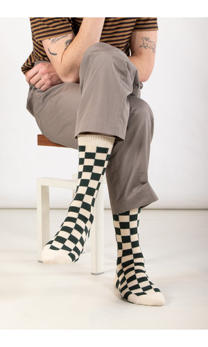 RoToTo RoToTo Sock / Checkerboard / Dark Green Ivory