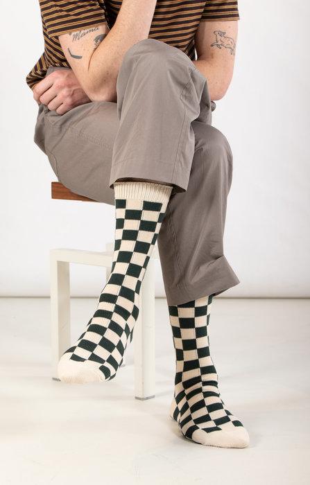 RoToTo RoToTo Sock / Checkerboard / Dark Green Ivory