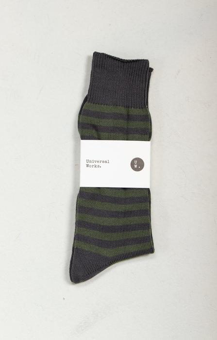 Universal Works Universal Works Sok / Stripe Sock / Groen