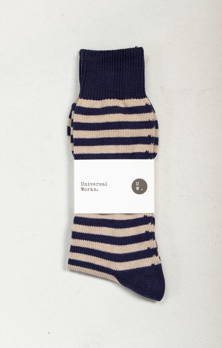 Universal Works Universal Works Sock / Stripe Sock / Navy