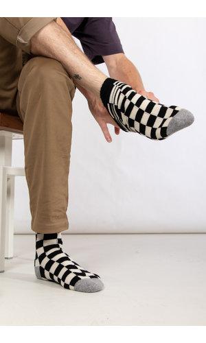 RoToTo RoToTo Sock / Checkboard / Black Ivory