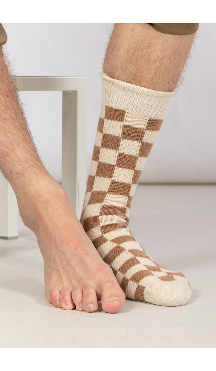 RoToTo RoToTo Sock / Checkboard / Kameel Ivoor