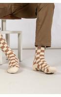 RoToTo Sock / Checkboard / Camel Ivory