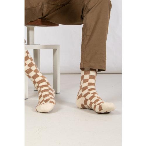 RoToTo RoToTo Sock / Checkboard / Camel Ivory
