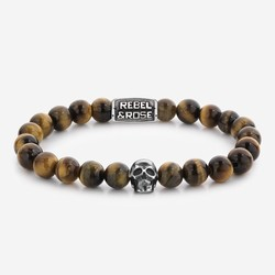 Rebel&Rose RR-SK005-S-M Skull Mixed Tiger Eye