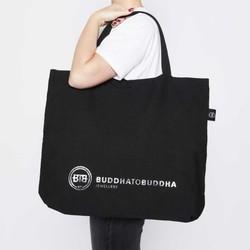 BUDDHA TO BUDDHA Luxe Canvas Tote Bag Black