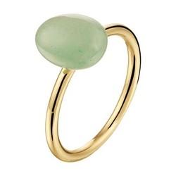 14 karaat geelgouden ring, groene aventurijn, maat 17 3/4.