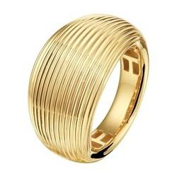 14 karaat geelgouden brede ring, bol met groeven, maat 17 3/4.
