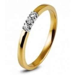 R&C Cato 14 karaat gouden bicolor ring 3x0.05 crt. W/P1 maat 53