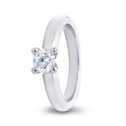 R&C 14 karaat witgouden ring Feline, 0.09 crt. R/SI, maat 53.