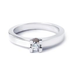 R&C 14 karaat witgouden ring Roman, 0.06 crt. diamant, maat 54.