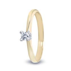 R&C 14 karaat geelgouden ring Lila, diamant 0.12 crt. R/SI, maat 55.