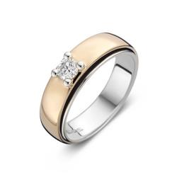 ROOS1835 057R10WRW18 ring Rose/Witgoud 18 karaat, Solitair diamant 0.10 crt. G/VSI.