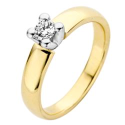 ROOS1835 045R25YW14 ring Geel/Witgoud 18krt. Solitair 0.25 crt. G/SI