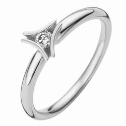 Moondrops M017R10W14, Ring 14 karaat witgoud met 0.10 crt. diamant.