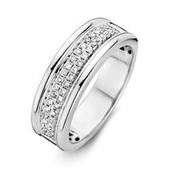 Excellent RG215412/56 14krt witgouden ring met twee rijen briljant gezet
