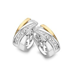 Excellent OF626068 klapcreolen zilver gerhodineerd met 14krt goud.