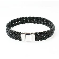 ALBANU armband 30.05.21 zwart leer, gevlochten, slot staal, 18cm
