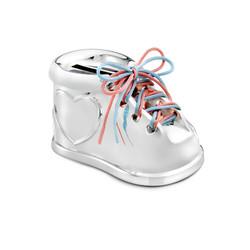 Zilverstad 7275261 Verzilverde spaarpot schoen met hart, roze & blauwe veters.