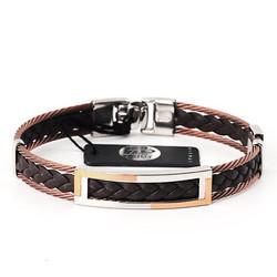 Salvatore Bersani SB107009 Armband Leer + bruin/zilverkleurig