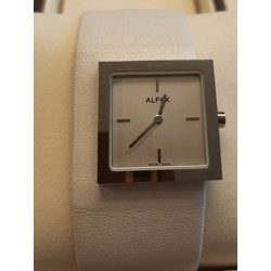 Alfex 5604.138 Horloge Staal/wit leer