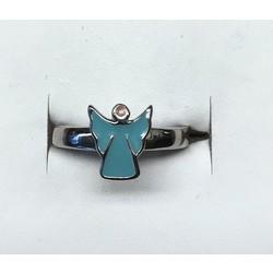 Kinderring 1016117 zilver blauw/ engel maat 15