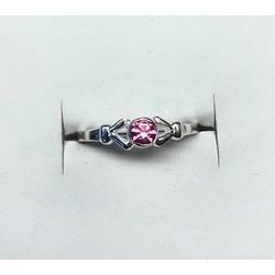 Kinderring 1046048  zilver roze zirkonia maat 15,5