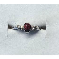 Kinderring 1002384 zilver met rood lieveheersbeestje