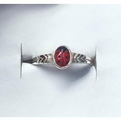 Kinderring 1002362 zilver met rood lieveheersbeestje