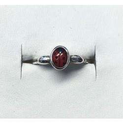 Kinderring 1000476 zilver  rood lieveheersbeestje
