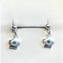 Kinderoorbellen 1044639 zilver ster met blauw