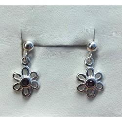 Kinderoorbellen 1039600 zilver met bloem