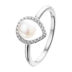 Zilveren gerhodineerde ring druppelvorm zirconia en zoetwaterparel