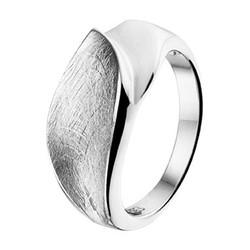 Zilveren gerhodineerde ring mat/glans gescratcht