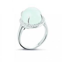Zilveren gerhodineerde ring , met bolle cabouchon aquamarijn