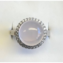 Zilveren gerhodineerde ring , met bolle cabouchon rozekwarts