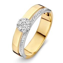 Excellent RP415782/54 geel en witgouden ring, 0.22 crt Wesselton diamanten
