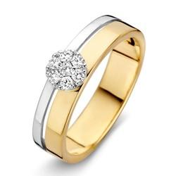 Excellent RP415781/52 geel en witgouden ring, 0.14 crt Wesselton diamanten