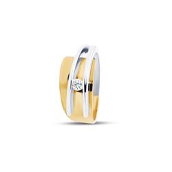 R&C bicolor ring breed naar smal met 0,08ct SI/R maat 55