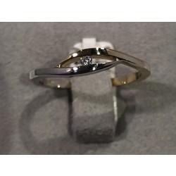 R&C bicolor ring  met 0,02ct W/1eP maat 54