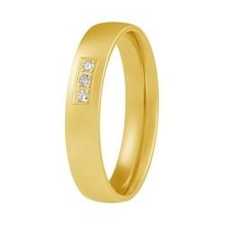 Aller Spanninga geelgouden trouwring model 107 met 0.03crt diamant