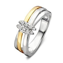 Excellent RF627129  zilver/geelgouden ring fantasie cross-over