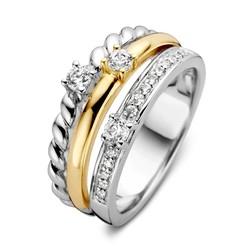 Excellent RF627127 zilver/geelgouden ring 3 ringen aan elkaar
