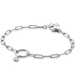 ZINZI Zilveren armband paperclip schakel/zirconia ZIA2200