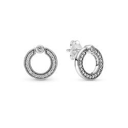 PANDORA 299486C01 Logo sterling silver reversible stud earrings